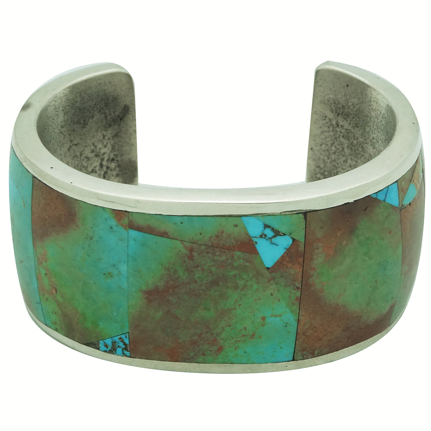 Lester James, Bracelet, Turquoise Mountain, Inlay, Tufa, Navajo Handmade, 6 5/8
