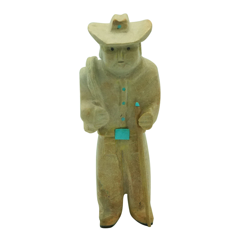 Freddie Leekya, Old Cowboy, Travertine, Zuni Carved Fetish, 4 1/4