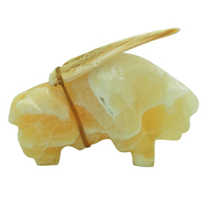 "Kelii Eli, Buffalo, Orange Alabaster, Arrowhead, Zuni Fetish, 4 3/4"" x 3 1/2"""