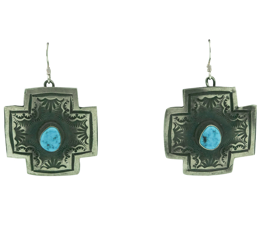 Sean Cayatineto, Earrings, Four Directions, Turquoise, Navajo, 2