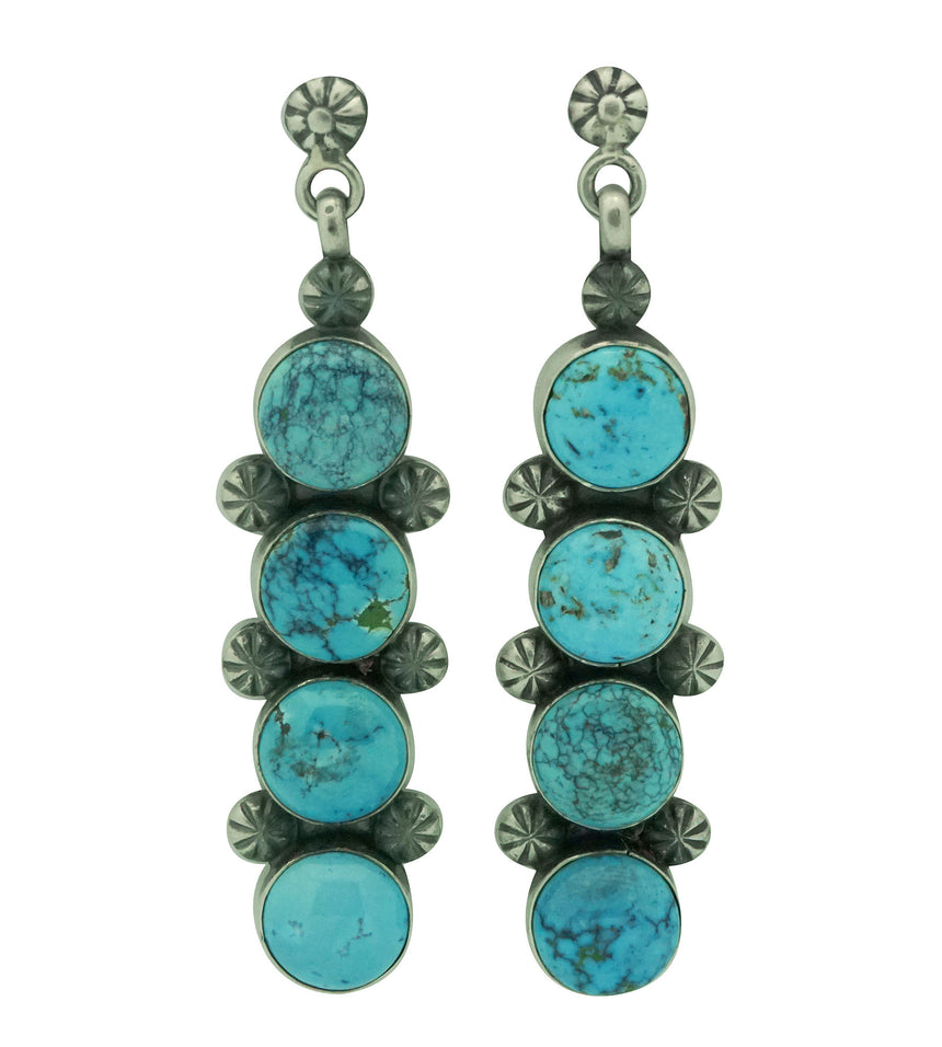 Freddie Maloney, Earrings, Chinese Turquoise, Silver, Navajo Handmade, 3