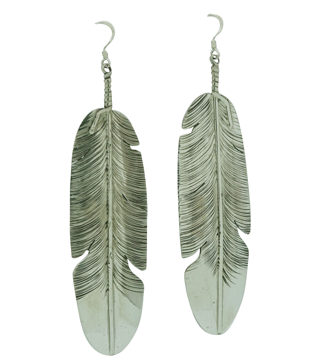 Ben Begaye, Earrings, Eagle Feather, Sterling Silver, Navajo Made, 4