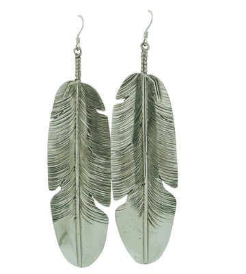 "Load image into Gallery viewer, Ben Begaye, Earrings, Eagle Feather, Sterling Silver, Navajo Made, 4"" x 1 1/16"""