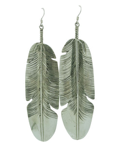 "Ben Begaye, Earrings, Eagle Feather, Sterling Silver, Navajo Made, 4"" x 1 1/16"""