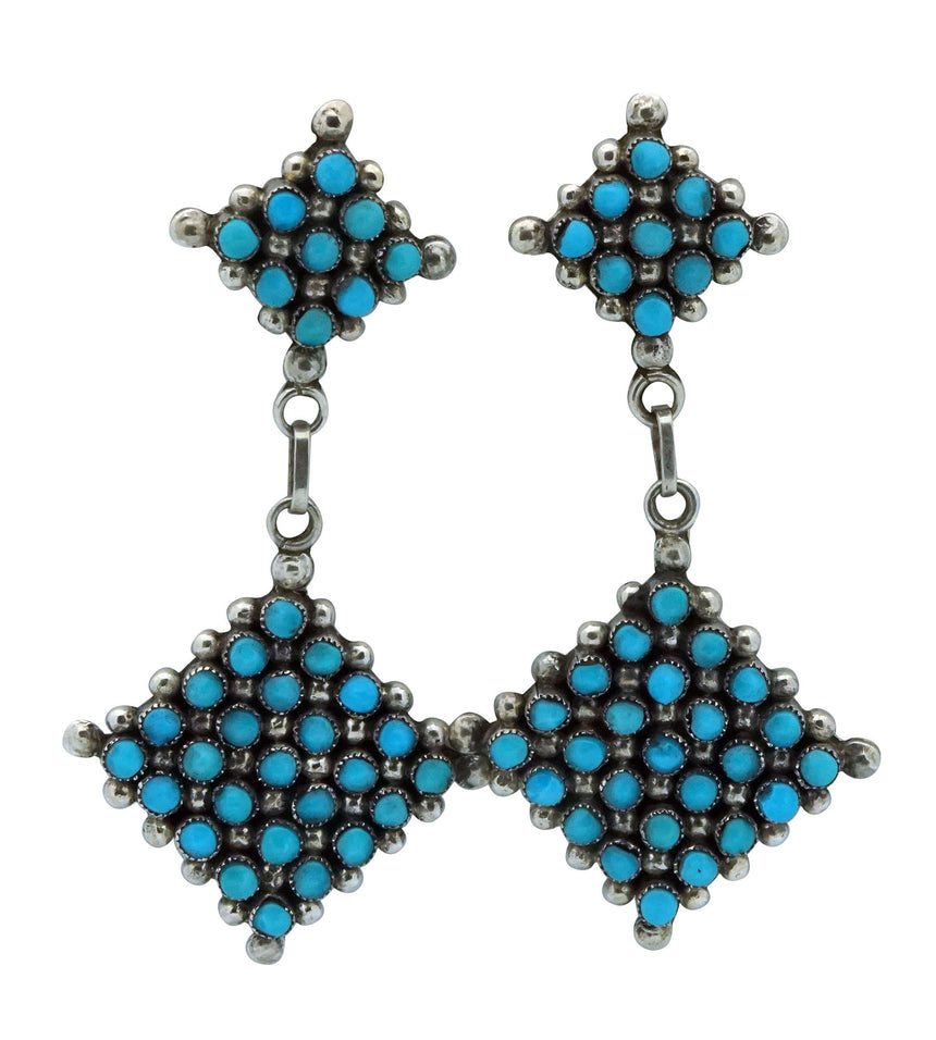 Calvert Lamy, Earrings, Turquoise, Dangles, Snake Eyes, Zuni, 2 1/4