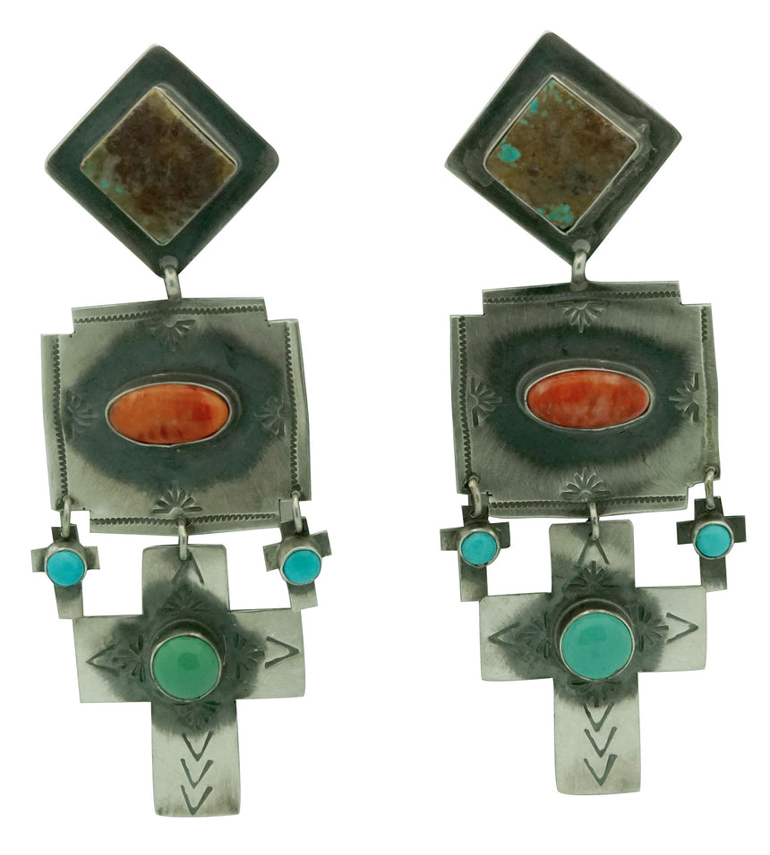 Rita Lee, Earrings, Cross, Spiny Oyster, Turquoise, Navajo, 3 1/2