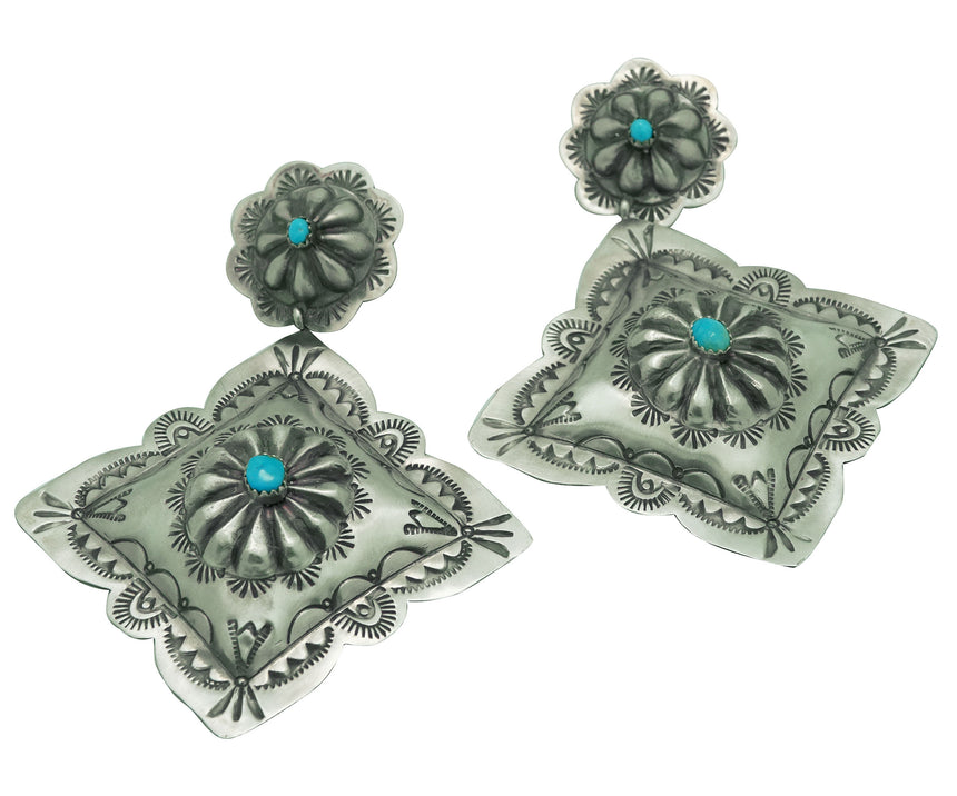 Rita Lee, Earrings, Silver Diamonds, Turquoise, Navajo Handmade, 3 7/8