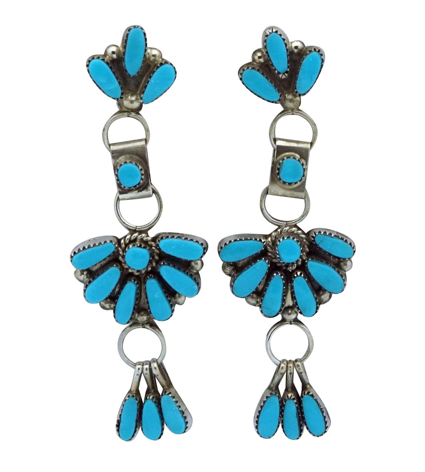 Viola Bobelu, Earrings, Sleeping Beauty Turquoise, Zuni Handmade, 2 3/8