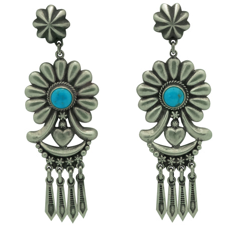 Thomas Jim, Earrings, Silver Cluster, Turquoise, Navajo Made, 3 1/4