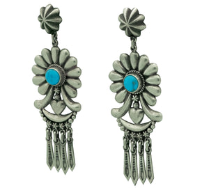 "Thomas Jim, Earrings, Silver Cluster, Turquoise, Navajo Made, 3 1/4"" x 1 1/8"""