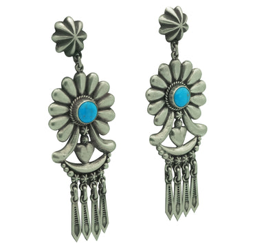 "Load image into Gallery viewer, Thomas Jim, Earrings, Silver Cluster, Turquoise, Navajo Made, 3 1/4"" x 1 1/8"""