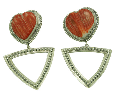"Load image into Gallery viewer, Randy Boyd, Pierced Earrings, Silver, Spiny Oyster Shell, Navajo, 3 1/2"" x 2"""