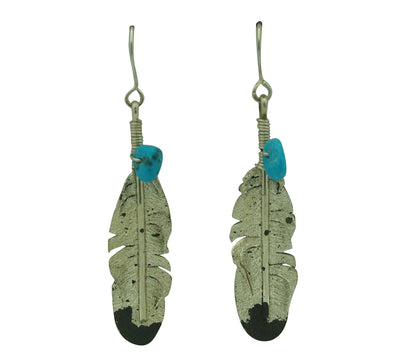 "Load image into Gallery viewer, Ernest Rangel, Earrings, Eagle Feather, Turquoise, Navajo Made, 2 3/8"" x 1/2"""