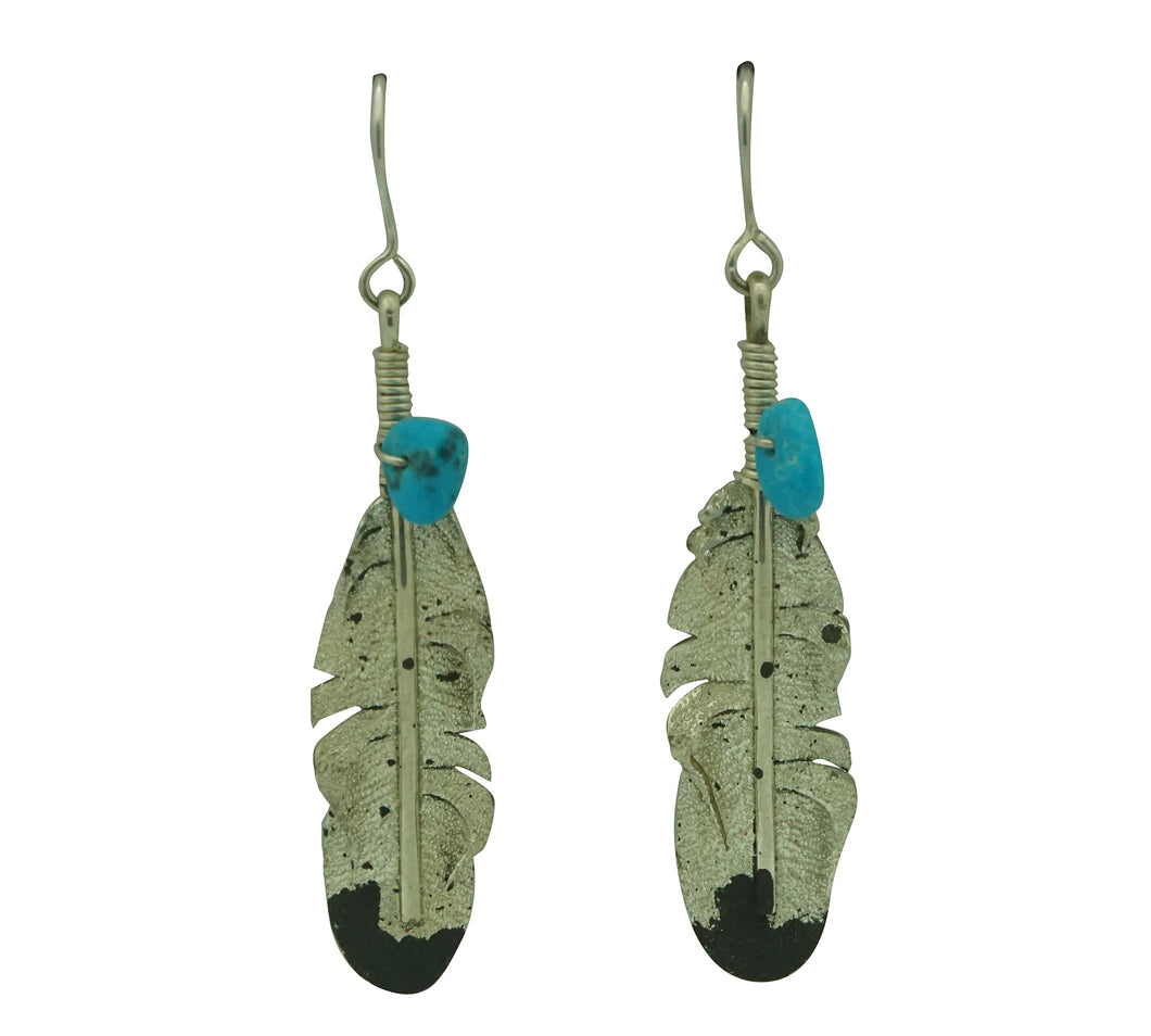 Ernest Rangel, Earrings, Eagle Feather, Turquoise, Navajo Made, 2 3/8
