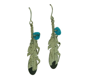 "Ernest Rangel, Earrings, Eagle Feather, Turquoise, Navajo Made, 2 3/8"" x 1/2"""