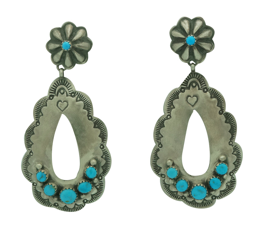 Rita Lee, Earrings, Dangles, Kingman Turquoise, Navajo Made, 2 5/8