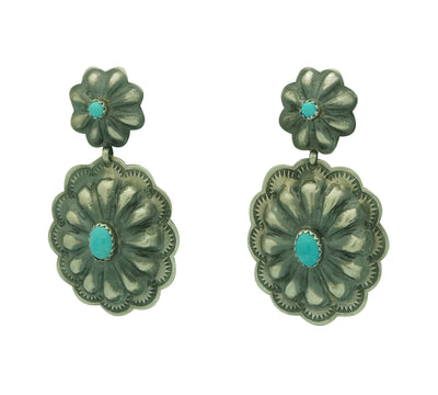 "Load image into Gallery viewer, Rita Lee, Earrings, Concho Style, Bump Outs, Turquoise, Navajo Handmade, 2"" x 1"""