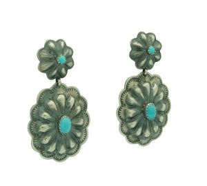 "Rita Lee, Earrings, Concho Style, Bump Outs, Turquoise, Navajo Handmade, 2"" x 1"""