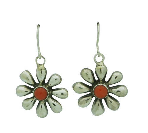 Ernest Rangel, Earrings, Mediterranean Coral Blossoms, Navajo, 1 1/2
