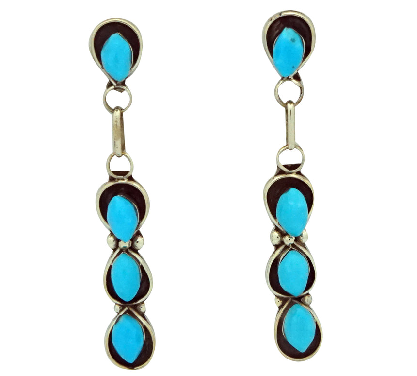 Zuni, Earrings, Sleeping Beauty Turquoise, Silver, Handmade, 1 7/8