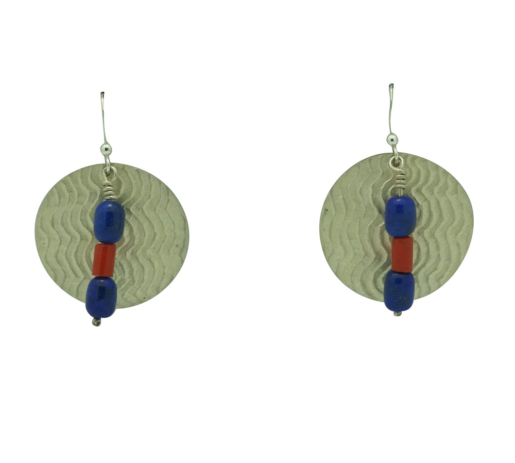 Alvin Yellowhorse, Earrings, Lapis Lazuli, Coral, Navajo Handmade, 2