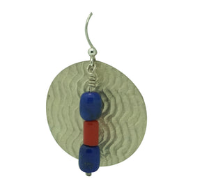 "Alvin Yellowhorse, Earrings, Lapis Lazuli, Coral, Navajo Handmade, 2"" x 1 1/4"""
