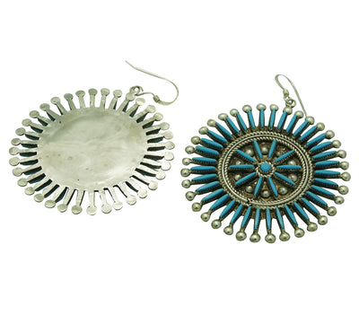"Load image into Gallery viewer, Iva Booqua, Earring, Sleeping Beauty Turquoise, Zuni Handmade, 2 3/8"" x 1 3/4"""