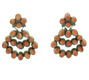 "Jennifer Begay, Earrings, Red, Orange Spiny Shell, Navajo Made, 2 1/4"" x 1 3/4"""