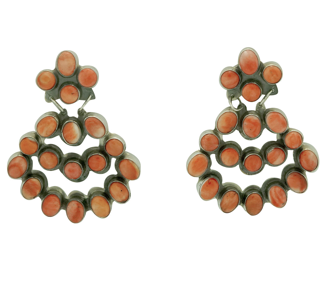 Jennifer Begay, Earrings, Red, Orange Spiny Shell, Navajo Made, 2 1/4