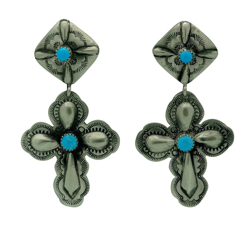 Glenn Livingston, Earrings, Dangles, Turquoise, Navajo Made, 2 3/4