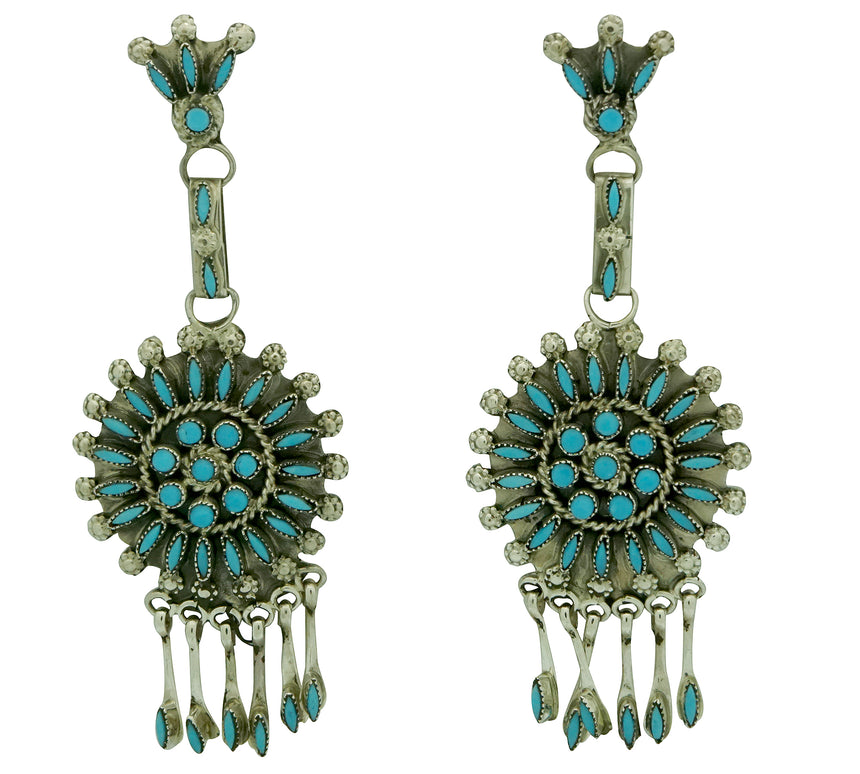 Merlinda Chavez, Earrings, Dangles, Sleeping Beauty Turquoise, 3 1/4