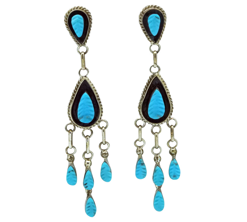 Shirley Walela, Earrings, Sleeping Beauty Turquoise, Zuni Made, 2 3/4