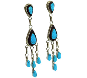 "Shirley Walela, Earrings, Sleeping Beauty Turquoise, Zuni Made, 2 3/4"" x 1/2"""