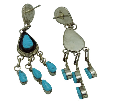 "Load image into Gallery viewer, Shirley Walela, Earrings, Sleeping Beauty Turquoise, Zuni Made, 2 3/4"" x 1/2"""