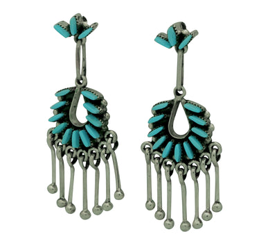 "Load image into Gallery viewer, Mildred Ukestine, Earrings, Sleeping Beauty Turquoise, Zuni Made, 1 3/4"" x 3/4"""