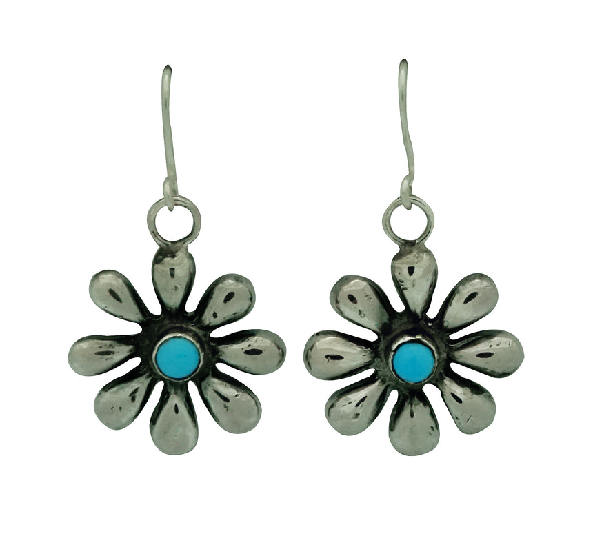 Ernest Rangel, Earrings, Kingman Turquoise Blossoms, Navajo Made, 1 1/2