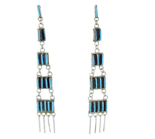 Ashley Laate, Earrings, Sleeping Beauty Turquoise, Dangles, Zuni, 4 1/8
