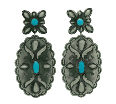 "Load image into Gallery viewer, Glen Livingston, Earrings, Old Style, Turquoise, Navajo Made, 3 1/4"" x 1 1/2"""