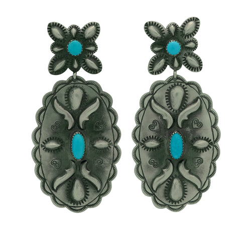 Glen Livingston, Earrings, Old Style, Turquoise, Navajo Made, 3 1/4