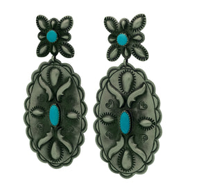 "Glen Livingston, Earrings, Old Style, Turquoise, Navajo Made, 3 1/4"" x 1 1/2"""