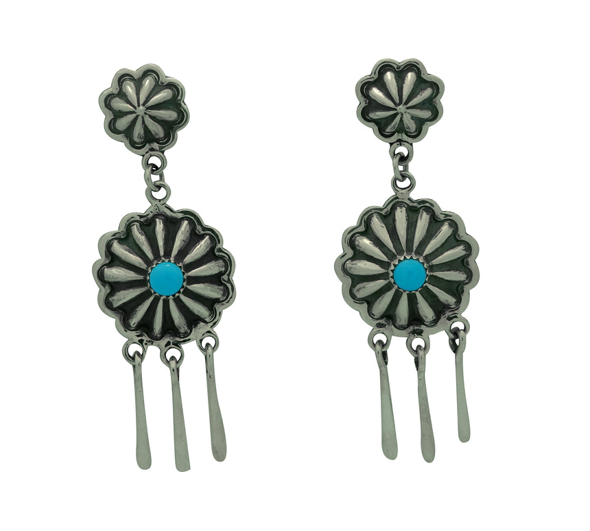 Stacey Gishal, Earrings, Turquoise, Dangles, Silver, Navajo Made, 2 3/4