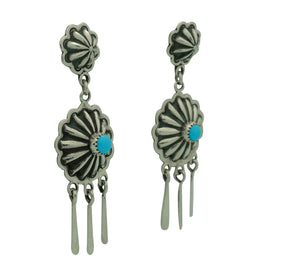 "Stacey Gishal, Earrings, Turquoise, Dangles, Silver, Navajo Made, 2 3/4"" x 7/8"""