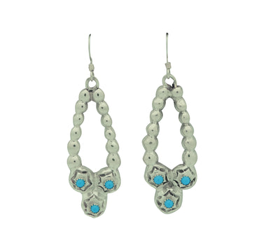 "Load image into Gallery viewer, Allison Manuelito, Earrings, Necklace Design, Turquoise, Navajo, 2 1/4"" x  5/8"""