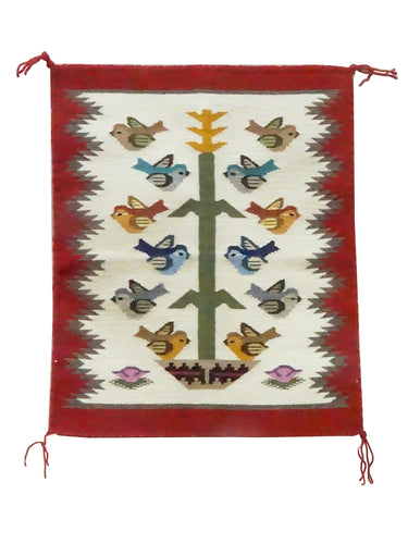 Tonita Jones, Navajo Handwoven Rug, Pictorial, Tree Of Life, 17