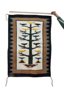 "Anna Gray, Navajo Handwoven Rug, Pictorial, Tree Of Life, 33"" x 46 3/4"""