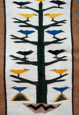 "Load image into Gallery viewer, Anna Gray, Navajo Handwoven Rug, Pictorial, Tree Of Life, 33"" x 46 3/4"""