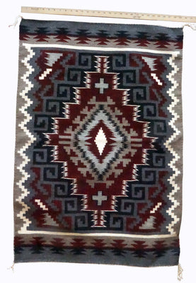 "Load image into Gallery viewer, Jeff Benally, Navajo Handwoven Rug, Ganado Red Design, 30 1/4"" x 43"""