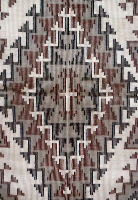 "Load image into Gallery viewer, Marie Yazzie, Navajo Handwoven Rug, Raised Outline Pattern, 37 1/2"" x 62 1/2"""