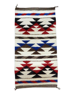 "Load image into Gallery viewer, Mary Chee, Gallup Throw Rug, White, Red, Black, Navajo Handwoven, 36"" x 19"""