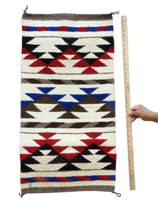 "Mary Chee, Gallup Throw Rug, White, Red, Black, Navajo Handwoven, 36"" x 19"""